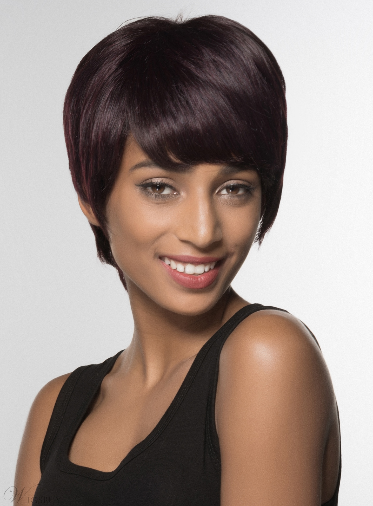 Mishair® Short Straight Capless Human Hair Wig 6 Inches 12004408