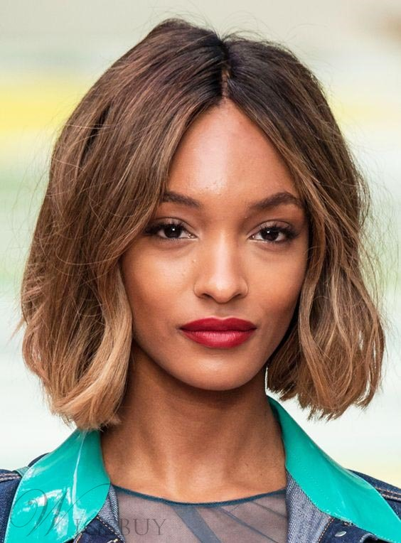 Jourdan Dunn Medium Wavy Lob Lace Front Synthetic Hair Wigs 12 Inches