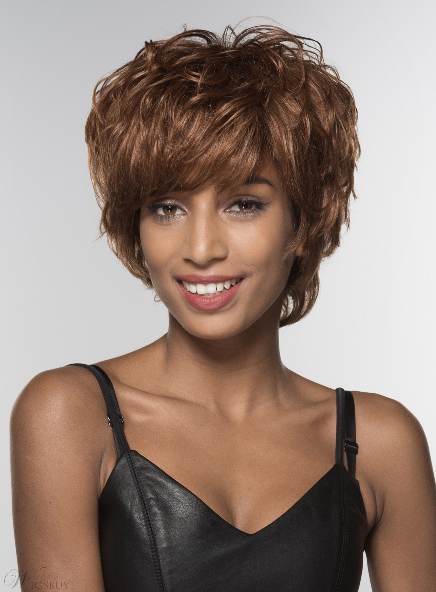 Mishair® African American Short Shaggy Loose Wavy Human Hair Capless 6 Inches