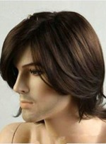 Men's Short Natural Straight Handsome Synthetic Hair Capless Wig 10 Inches