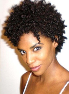 African American Short Kinky Curly Full Lace Human Hair Wig 6 Inches