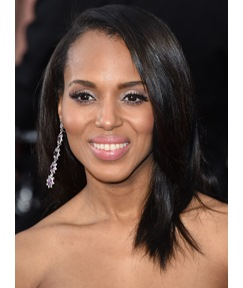 Kerry Washington Medium Straight Lace Front Human Hair Wig 16 Inches