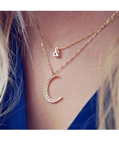 European Style Moon Shaped with Crystal Necklace for Women