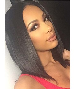 Blunt Cut Medium Straight Lace Front Synthetic Hair Wigs 14 Inches
