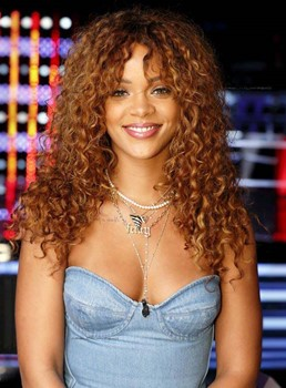 Rihanna Long Curly Lace Front Synthetic Wigs 22 Inches