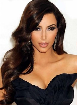 Kim Kardashian Charming Long Wavy Lace Front Synthetic Hair Wig 22 Inches