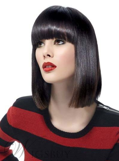 Bob Hairstyle Medium Straight Capless Synthetic Hair Wigs 12 Inches 12086341