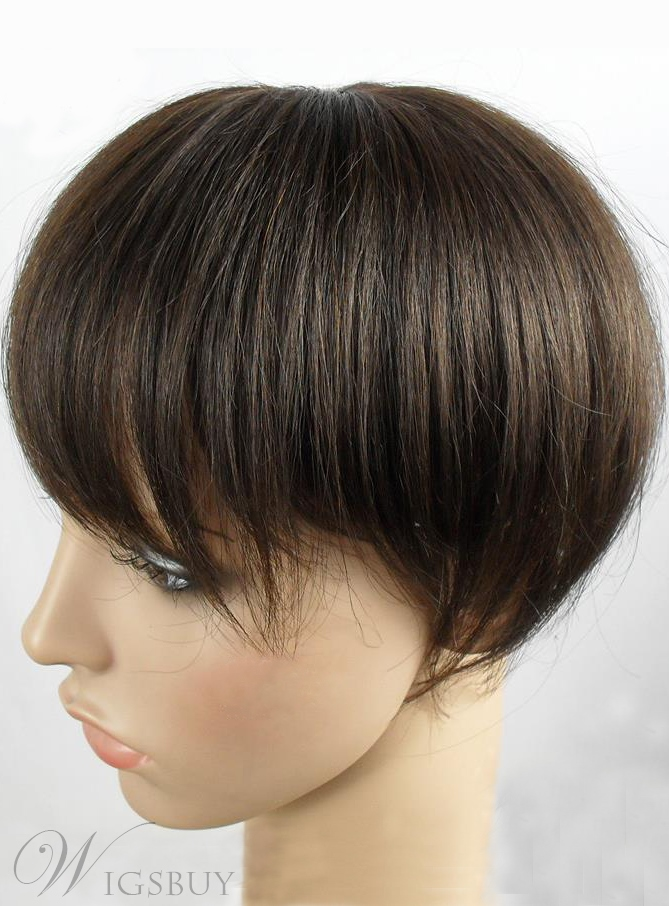 Smooth Short Straight 100% Human Hair Pieces