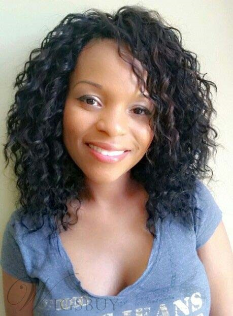 African American Medium Curly Lace Front Synthetic Wigs 16 Inches