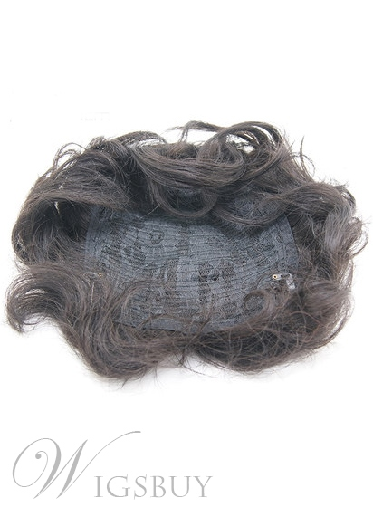 Pretty Short Wavy Human Hair Pieces About 8 Inches