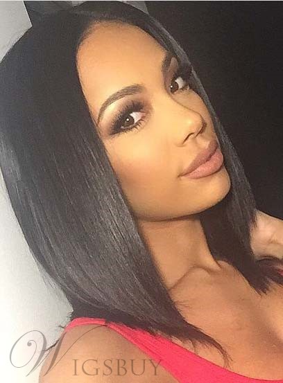 Blunt Cut Medium Straight Lace Front Synthetic Hair Wigs