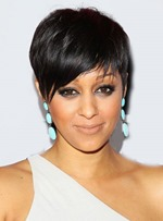 Tia Mowry Short Straight Mono Top Human Hair Wig 6 Inches