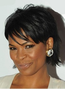 Nia Long Layered Short Straight Capless Human Hair Wigs 10 Inches