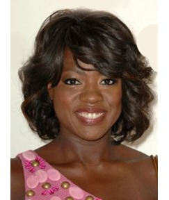Viola Davis Attractive Medium Wavy Capless Human Hair Wig 14 Inches