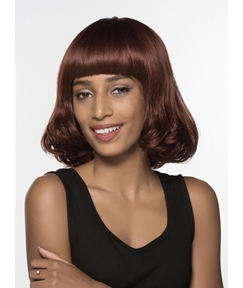 Mishair® Sweety Medium Wavy Full Bangs Capless Human Hair Wig 14 Inches