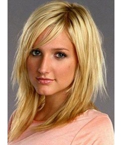 Sweet Shoulder Length Layered Synthetic Hair Capless Wig 16 Inches