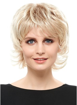 COSCOSS® Fashion Blonde Short Layered Straight Capless Synthetic Wig 10 Inches