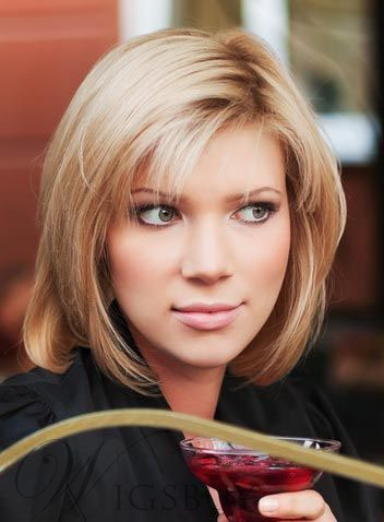 Graceful Straight Medium Bob Hairstyle Synthetic Hair Lace Front Cap Wig 12 Inches 12139904