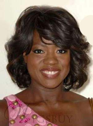 Viola Davis Medium Wavy Capless Human Hair Wigs 14 Inches