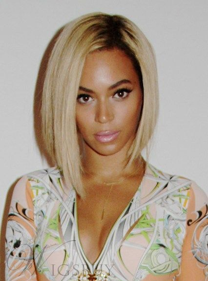 5283cbc2712 Beyonce Medium Straight Lob Hairstyle Lace Front Human Hair Wig 14 Inches