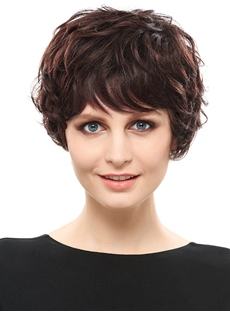 COSCOSS® Top Quality Natural Curly Short Synthetic Hair Capless Wig