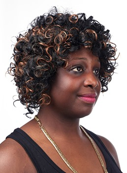 COSCOSS® Medium Kinky Curly Capless Synthetic Hair Wig 12 Inches