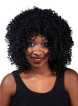 COSCOSS® Medium Kinky Curly Capless Synthetic Hair Wig 14 Inches