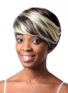 COSCOSS®Mixed Color Short Straight Capless Synthetic Hair Wig 8 Inches