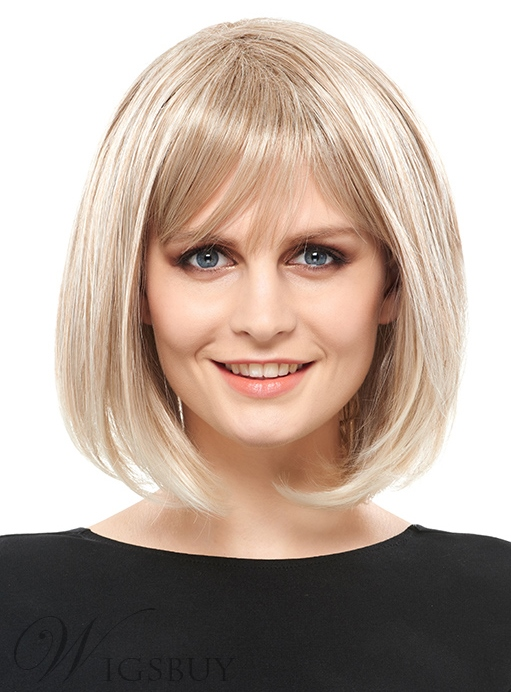 COSCOSS® Elegant Medium Straight Capless Blonde 12 Inches Synthetic Hair Bob Wig
