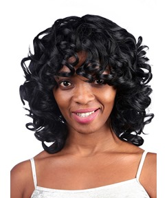 COSCOSS® Youthful Medium Curly Capless Synthetic Hair Wig 14 Inches