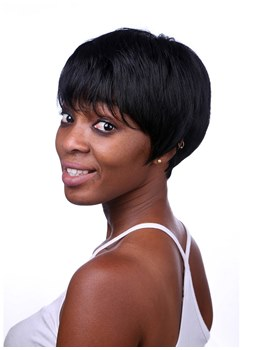 Boy Cut Hairstyle Synthetic Hair Short Capless African American Wigs 8 Inches