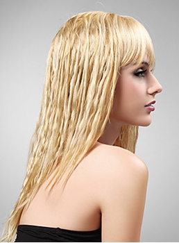 Elegant Long High Quality Human Hair Capless Light Blonde Curly Wig 16 Inches