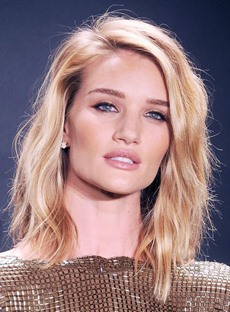 Rosie Huntington-Whiteley Hairstyle Medium Human Hair Lace Front Cap Wig 16 Inches