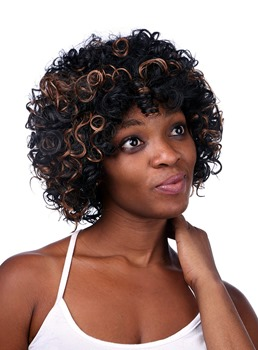 COSCOSS® Medium Curly Capless Synthetic Hair Wig 12 Inches