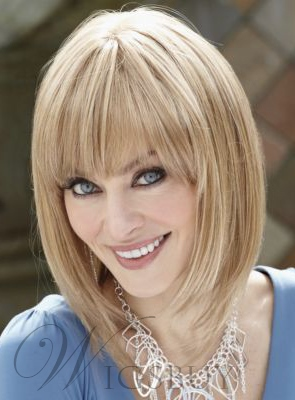 Full Bang Bob Medium Straight Synthetic Hair Capless Wigs 12 Inches 12159361