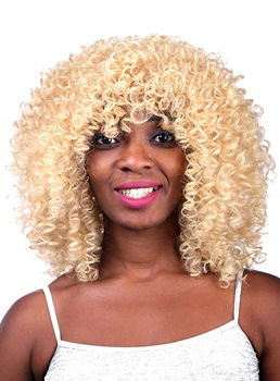 COSCOSS® Beautiful Medium Kinky Curly Capless Synthtic Hair Wig 16 Inches