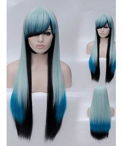 Blue And Black Cosplay Wigs Straight Synthetic Hair Capless Cap