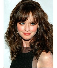 Custom New Celebrity Hairstyle Medium Curly 100% Human Remy Hair Wig 16 Inches
