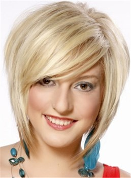 Fashionable Short Layered Straight Monofilament Top Synthetic Wig 10 Inches