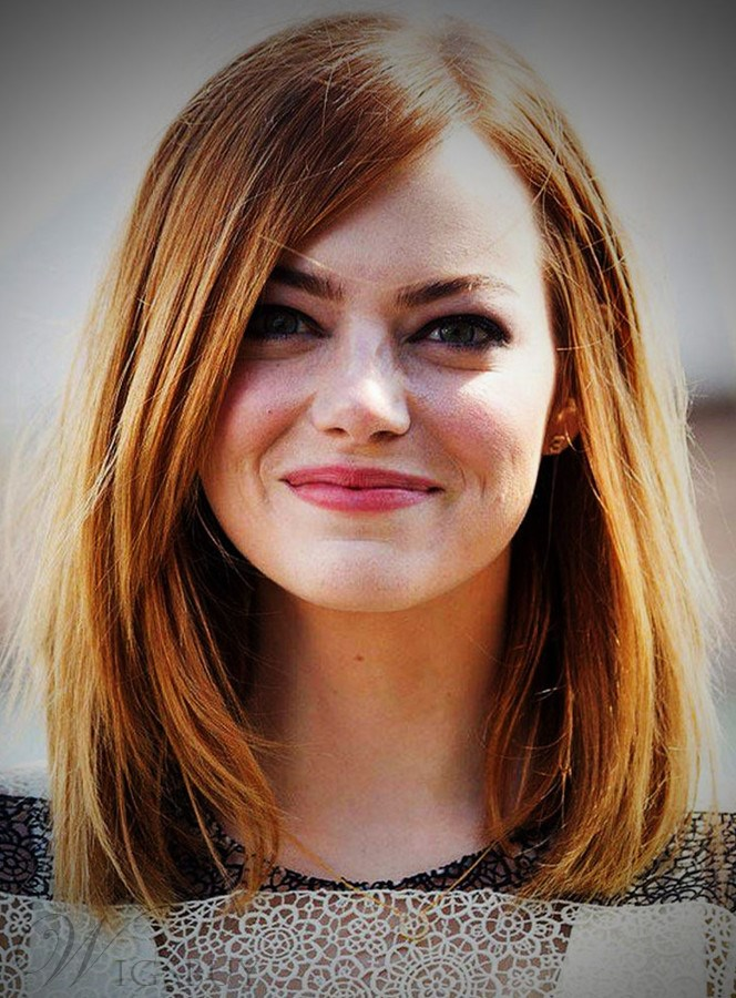 Beautiful Medium Natural Straight Emma Stone 100% Human Hair Lace Front Cap Wig 14 Inches 12220187
