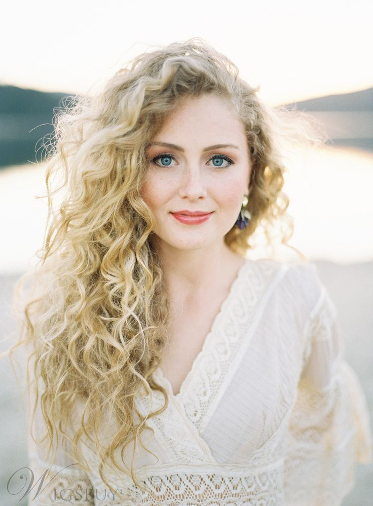 Long Curly Human Hair Lace Front Women Wigs 26 Inches 12232304