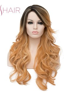 Mixed Color Wavy Synthetic Hair Capless Women Wig 28 Inches