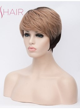 Short Type Synthetic Straight Hair With Bangs Capless Wig