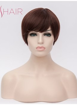 Short Capless Wig Synthetic Straight Hair 12 Inches