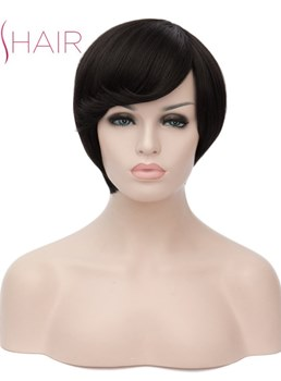 Short Hairstyle Synthetic Hair Straight With Bangs Capless Wig