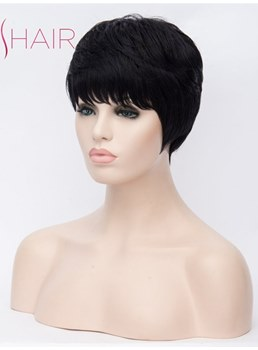 Short Cut Synthetic Straight Hair Capless Wig 10 Inches