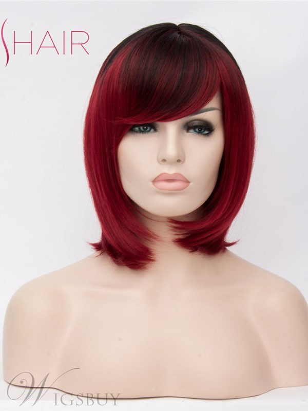 Bob Hairtyle Mid Length Synthetic Straight Hair With Bangs 14 Inches