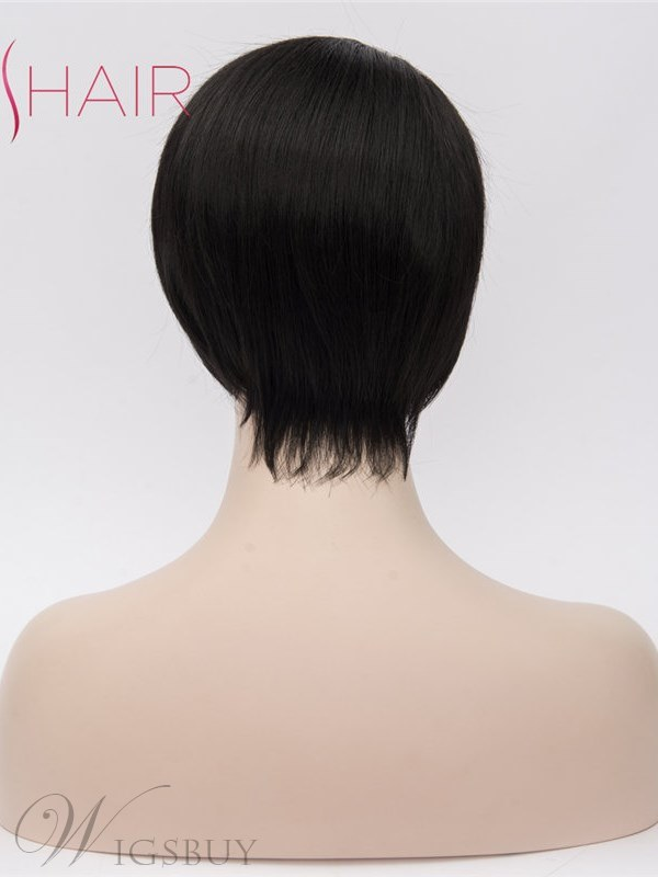 Short Synthetic Straigh Hair On Side Parting Capless Wig