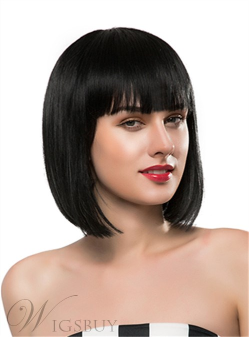 Mishair® Medium Straight Full Bangs Capless Human Hair Wig 12 Inches 12247315