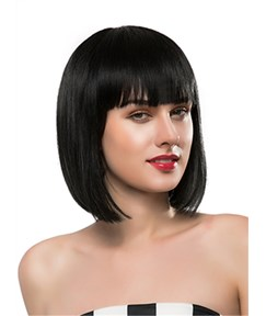 Mishair® Medium Straight Full Bangs Capless Human Hair Wig 12 Inches